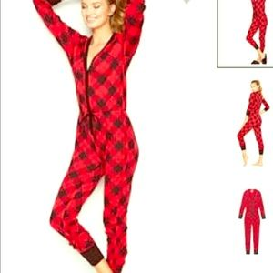 Victoria secret buffal plaid onesie sz Large HTF